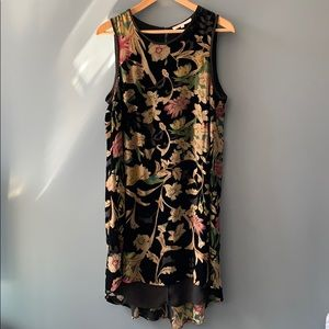 Floral, velvet high low swing dress sz M
